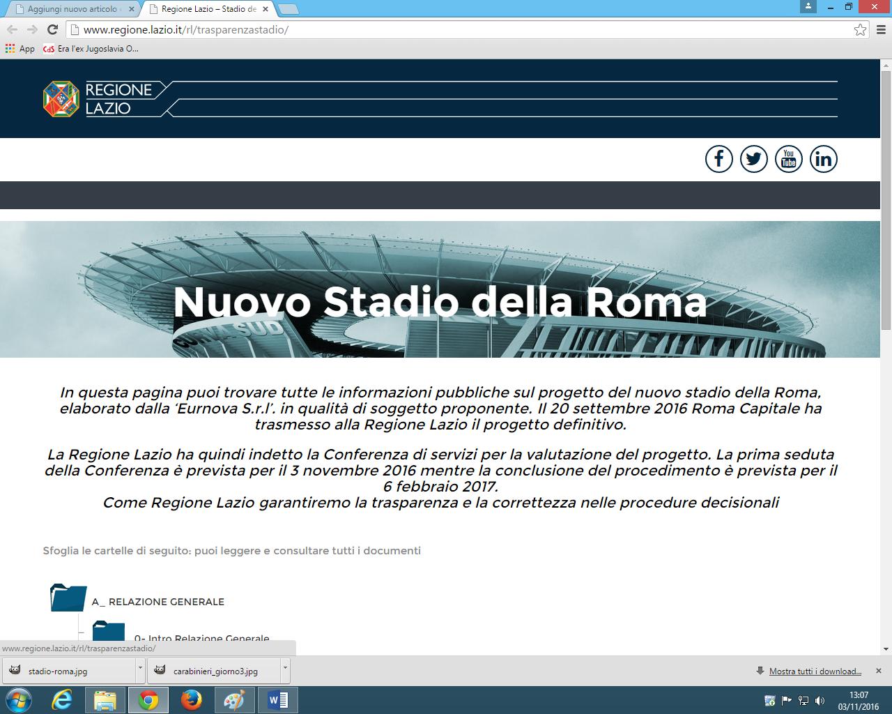 Il sito web della regione dedicato al progetto Stadio della Roma