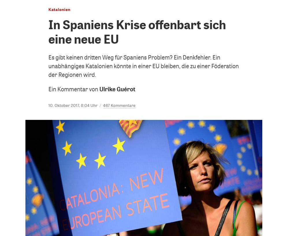 Die Zeit, lo scenario della Catalogna fuori dalla Spagna e dall'Unione Europea