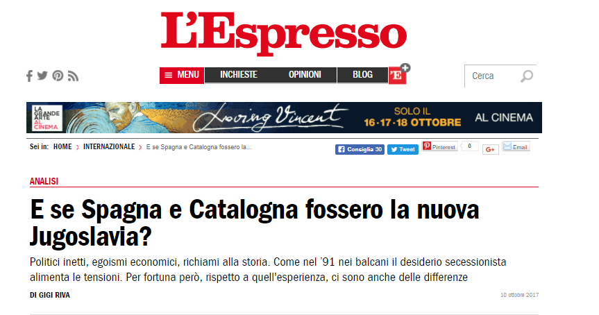 L'Espresso, la secessione della Catalogna può ricalcare in alcuni tratti la disintegrazione della Jugoslavia