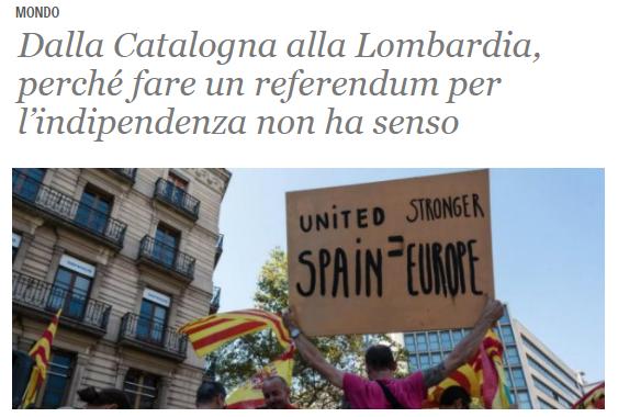 Il Fatto quotidiano, il referendum per l'indipendenza regionale non ha senso