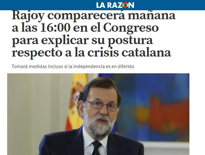 La Razon, il premier Mariano Rajoy annuncerà domani in Parlamento l'intervento sulla crisi catalana