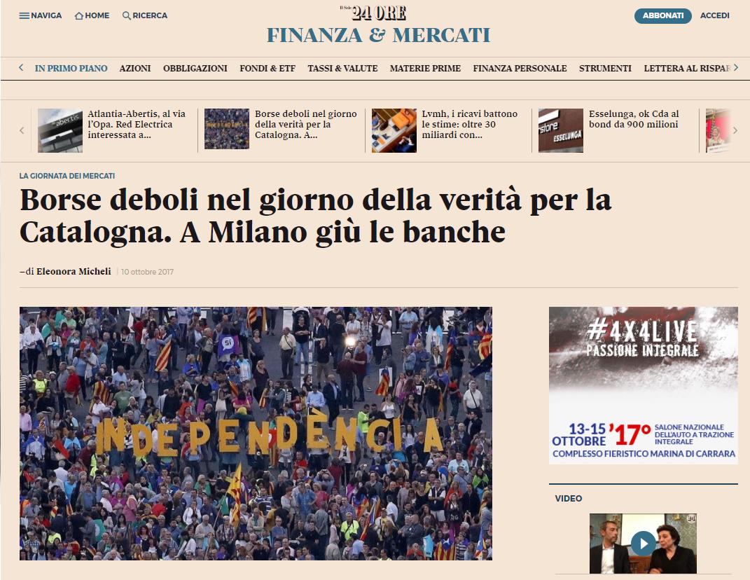 Il Sole 24Ore, i mercati risentono dell'incertezza nel giorno della verità per la Catalogna