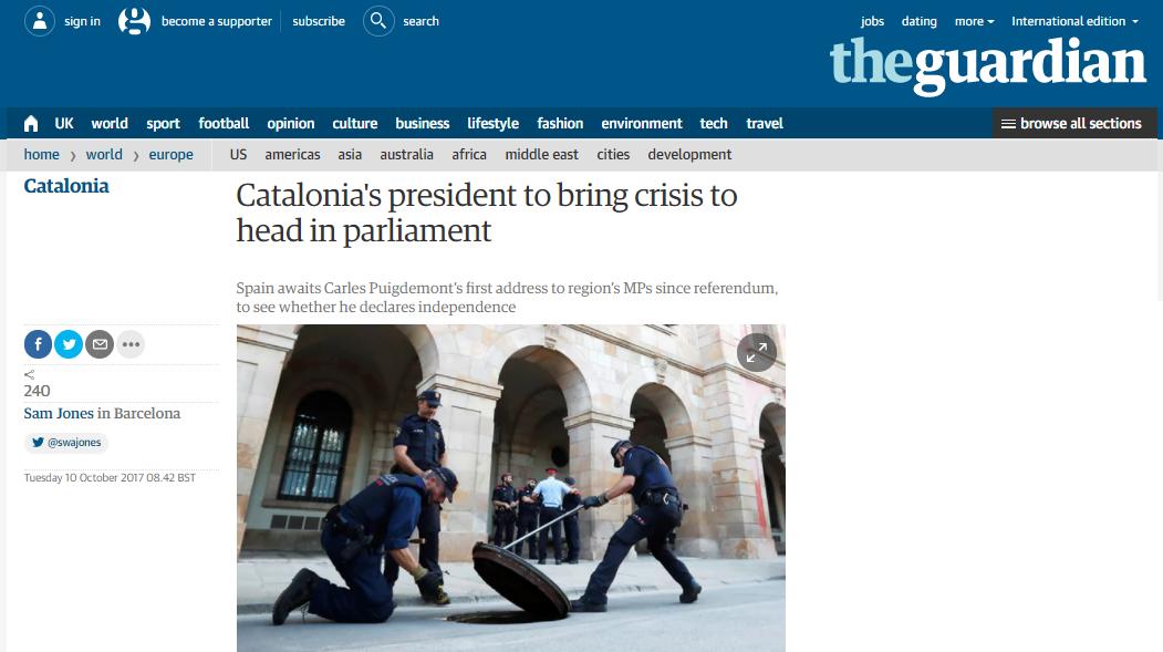 The Guardian, tutta la Spagna attende di sapere se il capo della Generalitat dichiarerà l'indipendenza