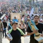 """Pellegrini in marcia per rendere omaggio alla """"Madre dell'America Latina"""" a seguito dell'apparizione nel 1531"""