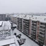 Visuale dall'alto di una Torino imbiancata
