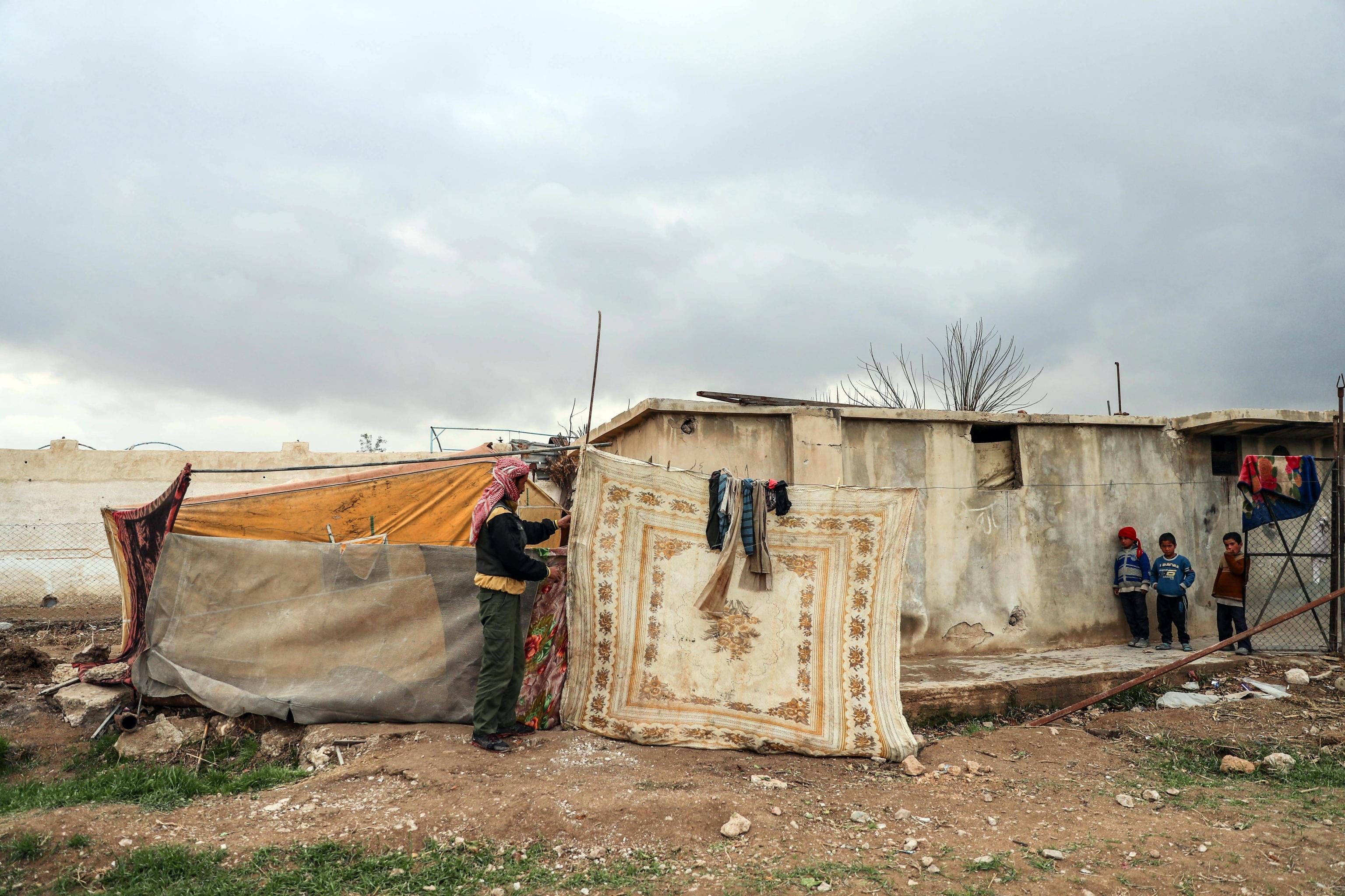 Un accampamento ad al-Asha'ari, est Ghouta in Siria