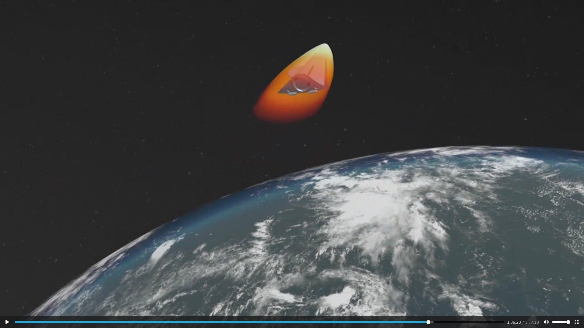 Il vettore che vola nello spazio, in un'altra immagine simulata