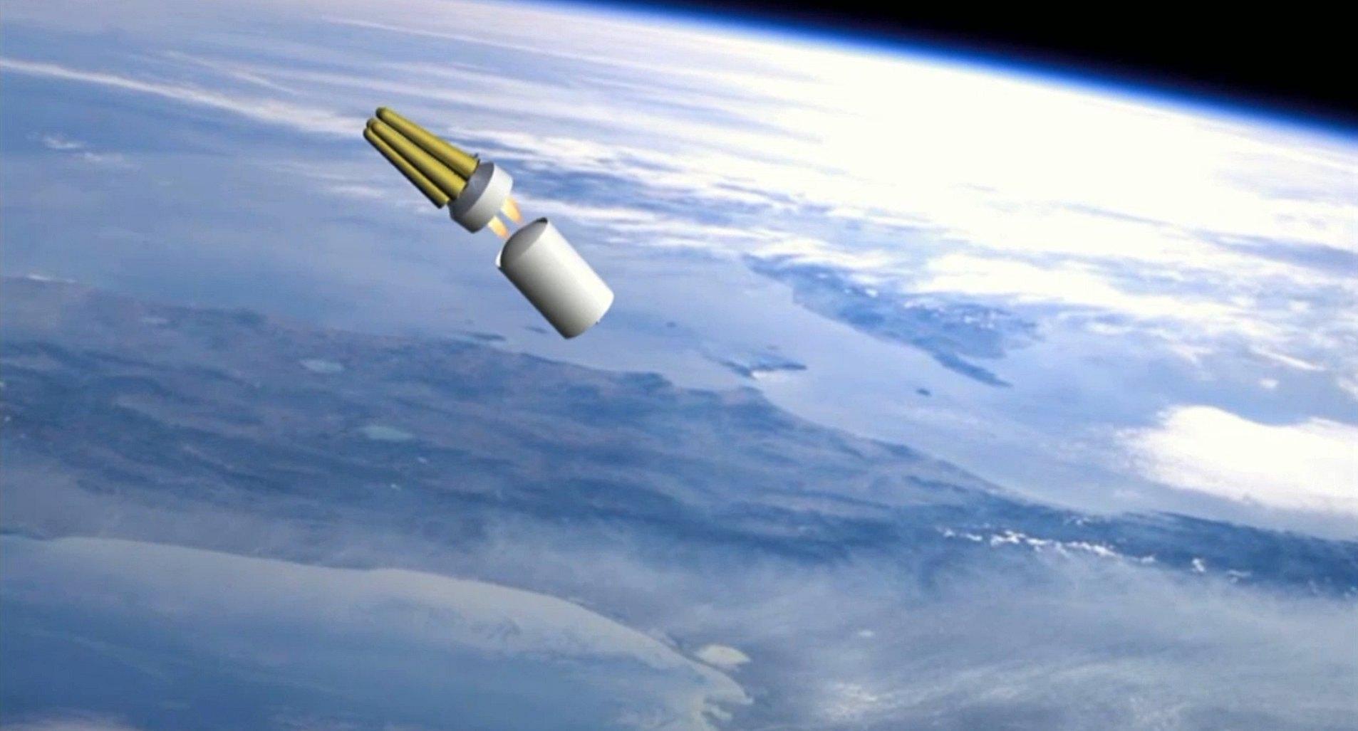 Una simulazione del volo nello spazio della nuova arma