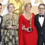 """Da sinistra: Sam Rockwell, Frances McDormand, Allison Janney e Gary Oldman. Sono i vincitori dei premi miglior attore/attrice protagonista, miglior attore/attrice non protagonista nei film """"Tre manifesti a Ebbing, Missouri"""", """"Tonya"""" e """"L'ora più buia"""""""