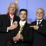 Rami Malek, ritratto con Brian May e Roger Taylor, è stato premiato come miglior protagonista drammatico