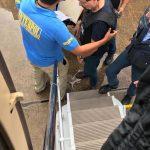 Il momento in cui Cesare Battisti sale sull'aereo.