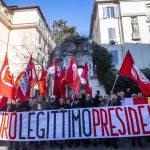 Il supporto a Maduro è arrivato da tutta l'Europa. Qui i manifestanti a Roma