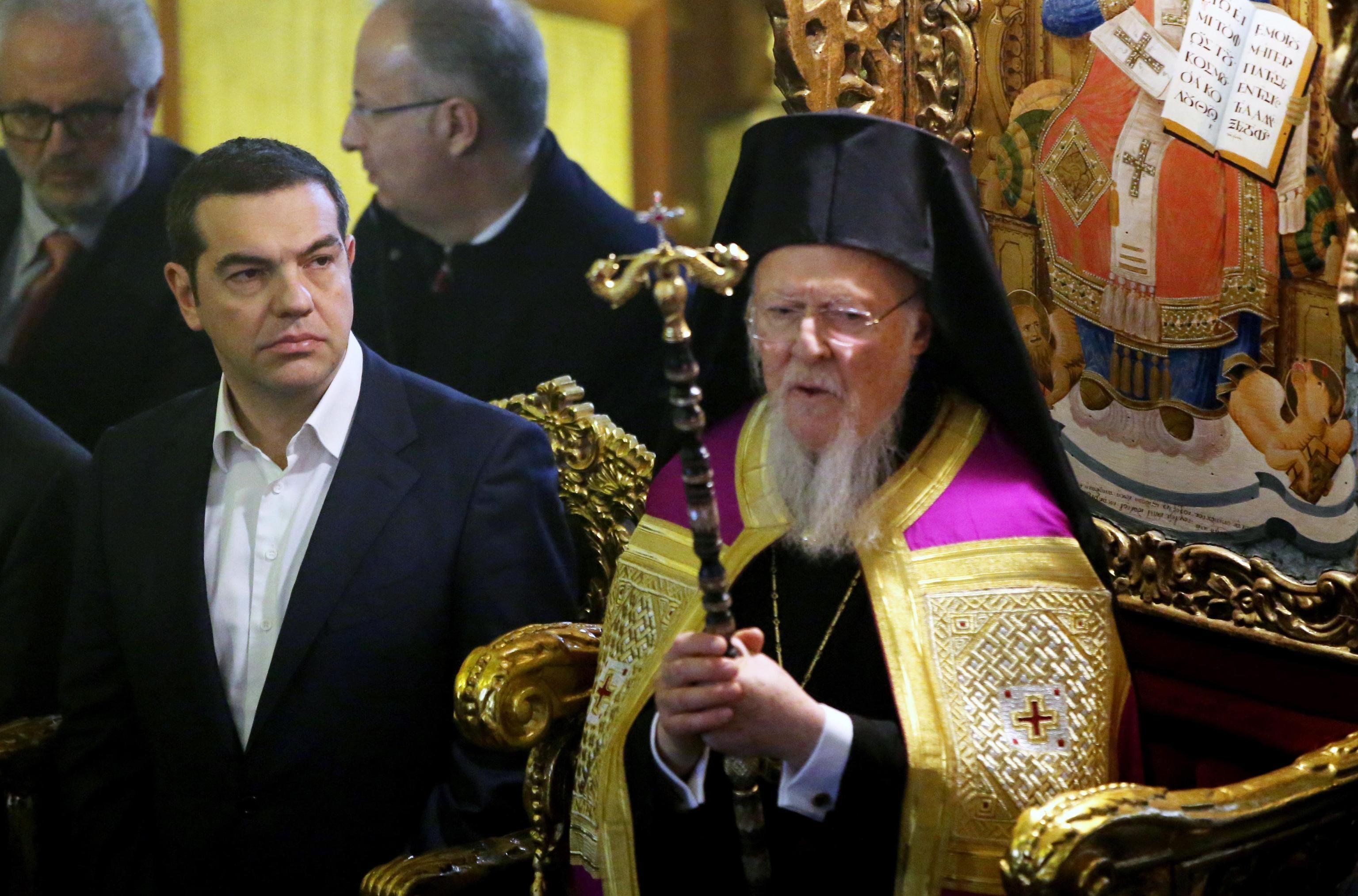 Tsipras con il patriarca ecumenico di Costantinopoli Bartolomeo I