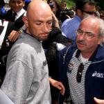 Marco Pantani fuori dall'Hotel Touring di Madonna di Campiglio dopo aver ricevuto la notizia della positività a un test antidoping durante il Giro d' Italia del 1999