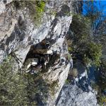 Un militare aggrappato alla roccia tramite una fune