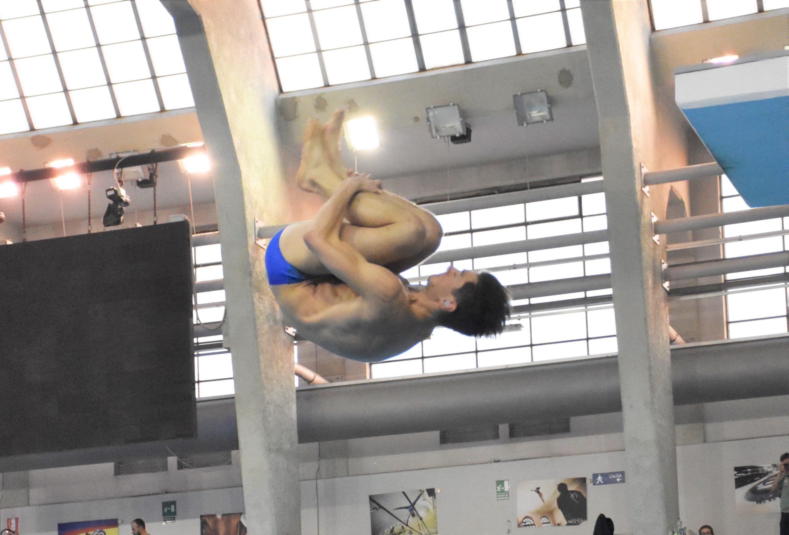 L'atleta Vanja Giacani (MR Sport) durante la gara di tuffi Master da un metro