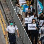 Le proteste dei pan-democratici a Hong Kong delimitate dalle transenne