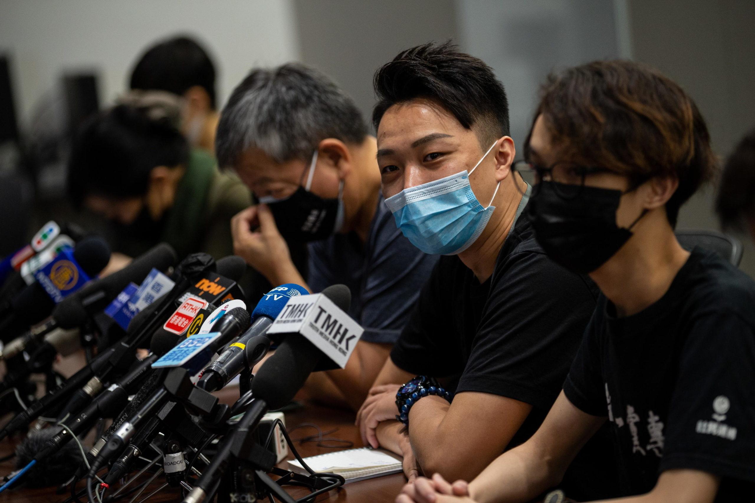 Conferenza stampa degli attivisti pro-democrazia a Hong Kong contro le nuove leggi in materia di sicurezza nazionale